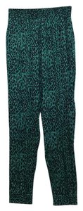Tucker Silk Beach Vacation Animal Relaxed Pants Jade Green leopard print