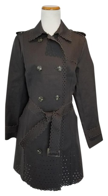 Item - Mink Grey Laser Cut Scalloped Double Breasted Coat Size 8 (M)