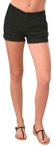 James Perse Linen Cuffed Ribbed Banded Mini/Short Shorts Black