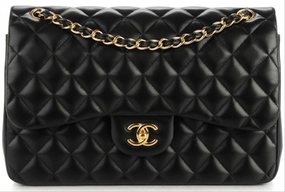 a6c67630c2fc Chanel 2.55 Reissue Classic Jumbo Double Flap Quilted Cc Logo Cross Black  Lambskin Leather Shoulder Bag