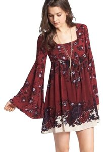 Free People short dress Vibrant Burgundy/Red Combo on Tradesy