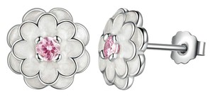 Bamoer Sterling Silver White Enamel Blossom Studs with Pink CZ Center