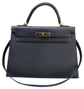 Herms Kelly 32 Togo Satchel in black