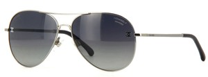 Chanel 4189 Aviators CC Pilot Signature Titanium Calfskin Oversized Polarized