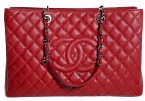 Chanel Gst Xl Jumbo Grand Shopping Flap Tote in RED