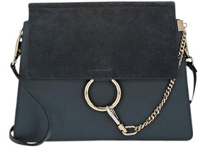 Chloé Mottey Gray Faye Medium Blue Shoulder Bag