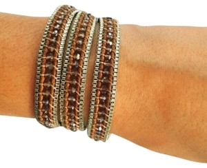 Nakamol Nakomol Wrap Bracelet w/ Leather, Crystals, Sterling Silver Box Chains