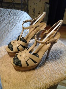 Saint Laurent New Condition Platform Under $400 Never Worn Beige Sandals