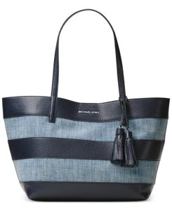 Michael Kors Washed Denim Leather Stripe Canvas Tote in Denim/Navy