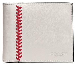 Coach COACH F75170 Compact ID Wallet in White Chalk Baseball Stitch Leather