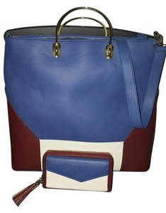 Charming Charlie Crossbody Colorblock Satchel in Burgundy ivory and blue