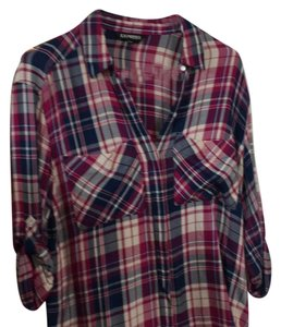 Express Button Down Shirt pinks and blues
