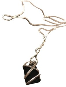 David Yurman Cable Wrap Pendant With Black Onyx and Diamonds in Sterling silver