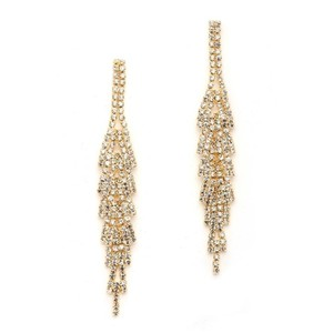 Mariell Gorgeous Gold Rhinestone Earrings With Layered Dangles 4544e-cr-g
