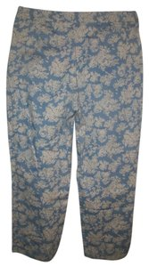 Ann Taylor Floral Capris Light Blue