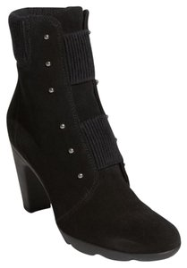 Aquatalia Studded Edgy Rocker Suede Black Boots