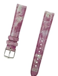 Michele MS16AA270677 Silver Pink Leather Watch Band Strap