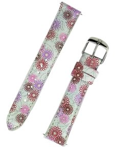 Michele White Leather Band With Floral Print