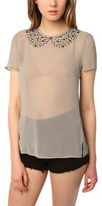 Lucca Couture Sheer Embellished Studded Top Ivory