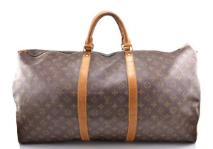 Louis Vuitton Monogram Canvas Leather Keepall Brown Travel Bag