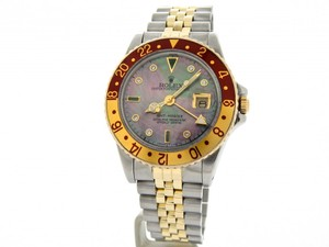 Rolex Mens Rolex Two-Tone GMT-Master Brown Rootbeer Diamond 16753