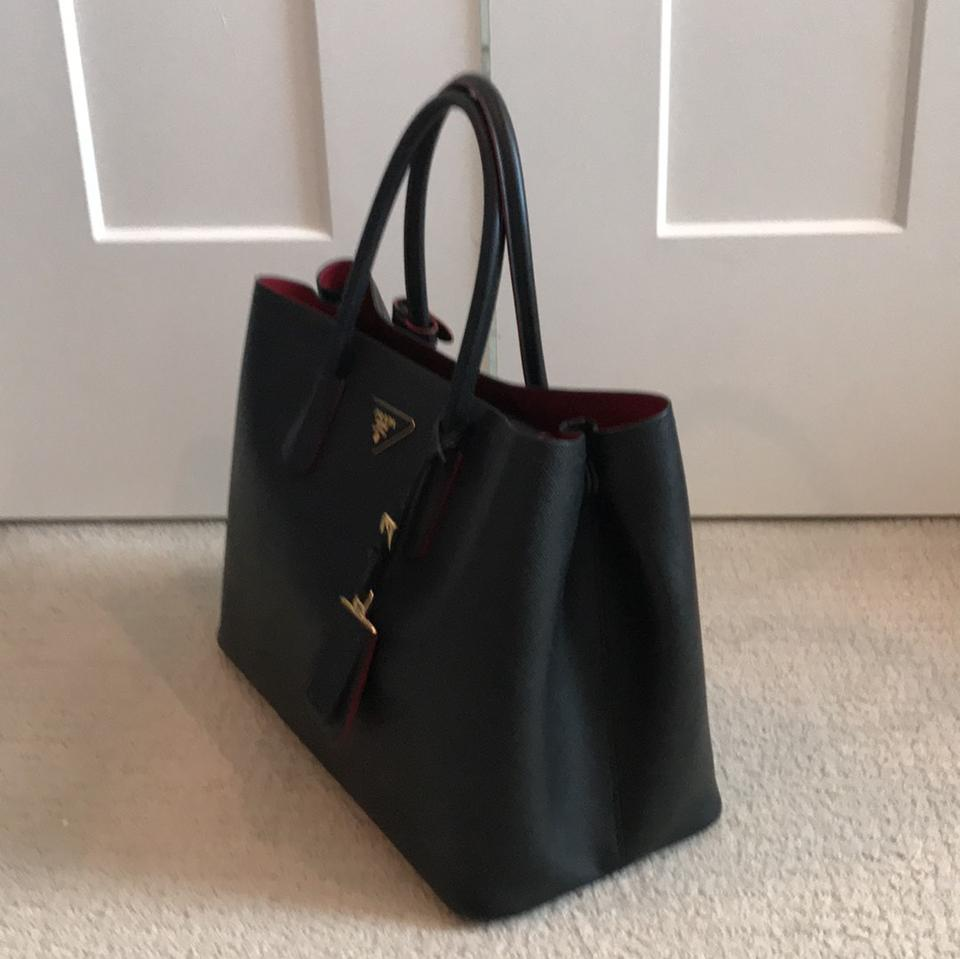365f900bccfd ... czech prada tote in black with red interior. 12345678 d22bb 6f826 free  shipping prada purses ...