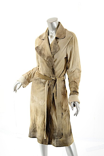 Item - Beige Brown W Tan Leather Duster W/Brown/Gold Staining Coat Size 12 (L)