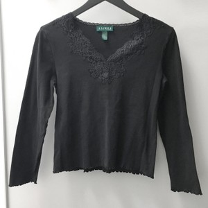 Lauren Ralph Lauren Lace Ruffle Longsleeve V-neck Top Black