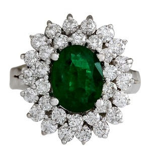Fashion Strada 2.75CTW Natural Emerald And Diamond Ring 14K Solid White Gold