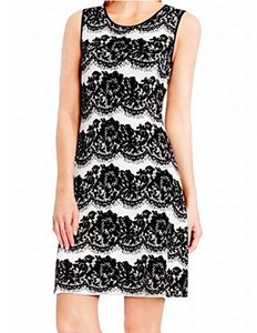 Vince Camuto short dress White with Black Lace 9156771 Sheath on Tradesy