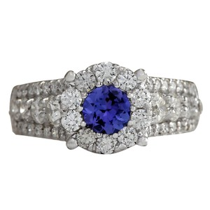 Fashion Strada 2.36CTW Natural Blue Tanzanite And Diamond Ring In 14K Solid White Gol
