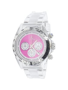 ToyWatch Toy Watch 7004PRP Clear Magenta/Pink Polycarbonate Bracelet Watch