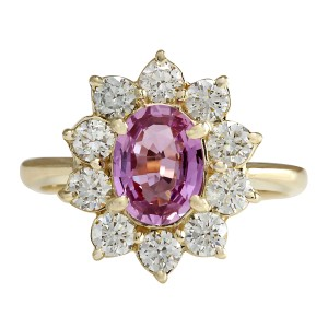 Fashion Strada 2.37CTW Natural Pink Ceylon Sapphire Diamond Ring 14K Solid Yellow Gol