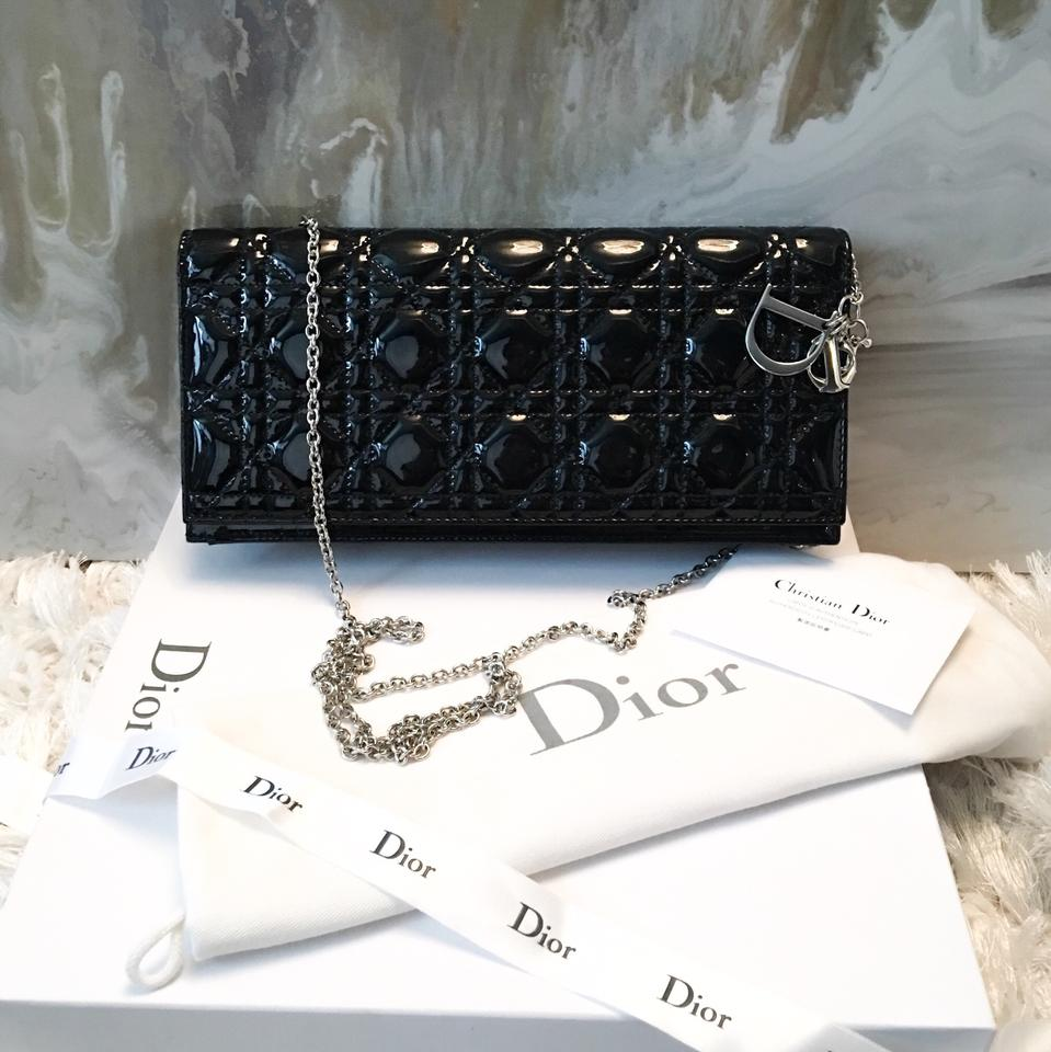 Dior Lady Dior Cannage Convertible Chain Logo Charm Black Patent ... bbe95275bb07d