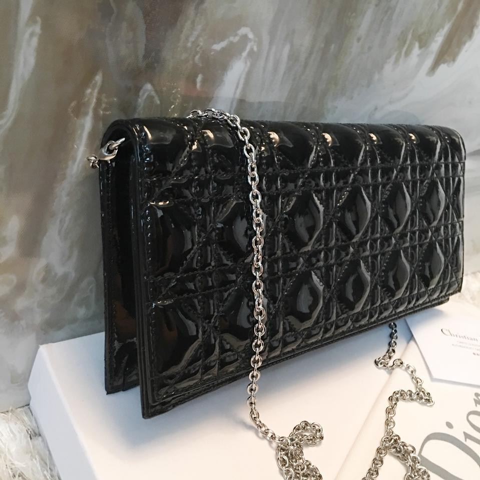 Dior Lady Dior Cannage Convertible Chain Logo Charm Black Patent Leather  Clutch - Tradesy c72240be70d36