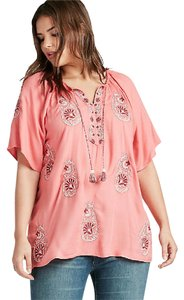 Lucky Brand Embroidered Plus Plus Size Top SPICED CORAL