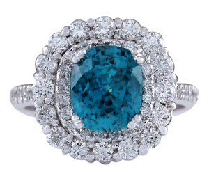 Fashion Strada 6.54CTW Natural Blue Zircon And Diamond Ring 14K Solid White Gold
