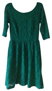 Mystic short dress Green 3/4 Sleeves Lace Lined Evening on Tradesy