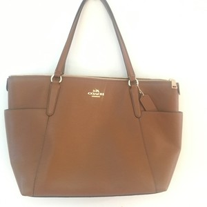 Coach Ava Pebbled Leather Tote in Saddle Brown