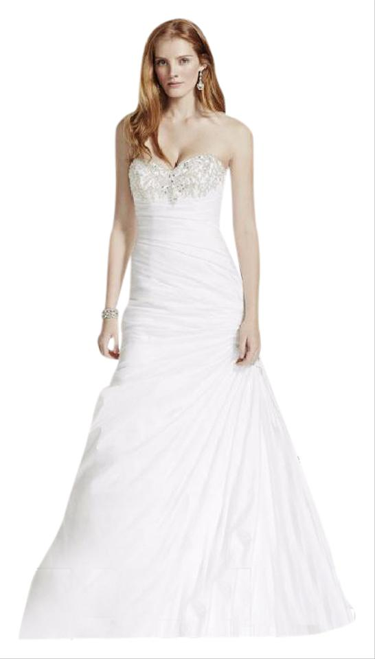 David\'s Bridal White Taffeta 10030357 Wedding Dress Size Petite 10 ...