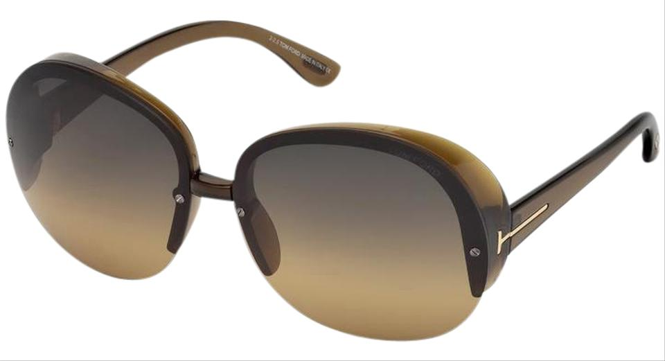 c0a5a7d9ce9 Tom Ford Tom Ford Women s Marine Oversized Round Brown Rimless Sunglasses  Image 0 ...