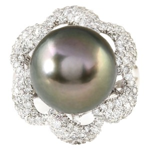 Fashion Strada 1.30 CTW Natural 14.22mm Black Pearl Diamond Ring 14k White Gold