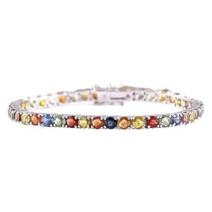 Fashion Strada 14.64 CTW Natural Multi-color Sapphire Bracelet In 14k Solid White Gol