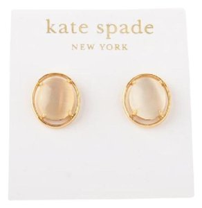 Kate Spade KATE SPADE 12K Gold Plated Open Rim Stud Earrings White Stone