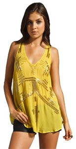 Free People Beaded Sheer Chiffon Top Chartreuse