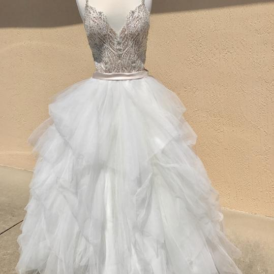Allure Bridals Ivory/Champagne/Silver Tulle and Sparkle 9425 Feminine Wedding Dress Size 10 (M)