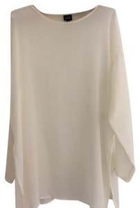 Eileen Fisher Silk Georgette Crepe Roomy Cut Color Sheer Top Cream