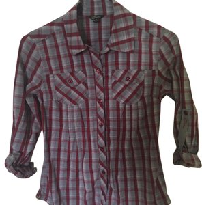 Guess Button Down Shirt red, grey, white