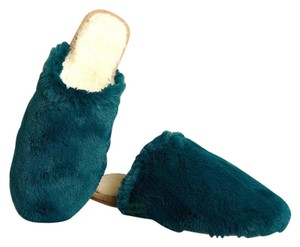Anthropologie Slippers Far Away From Close Fur Sherpa Green Flats