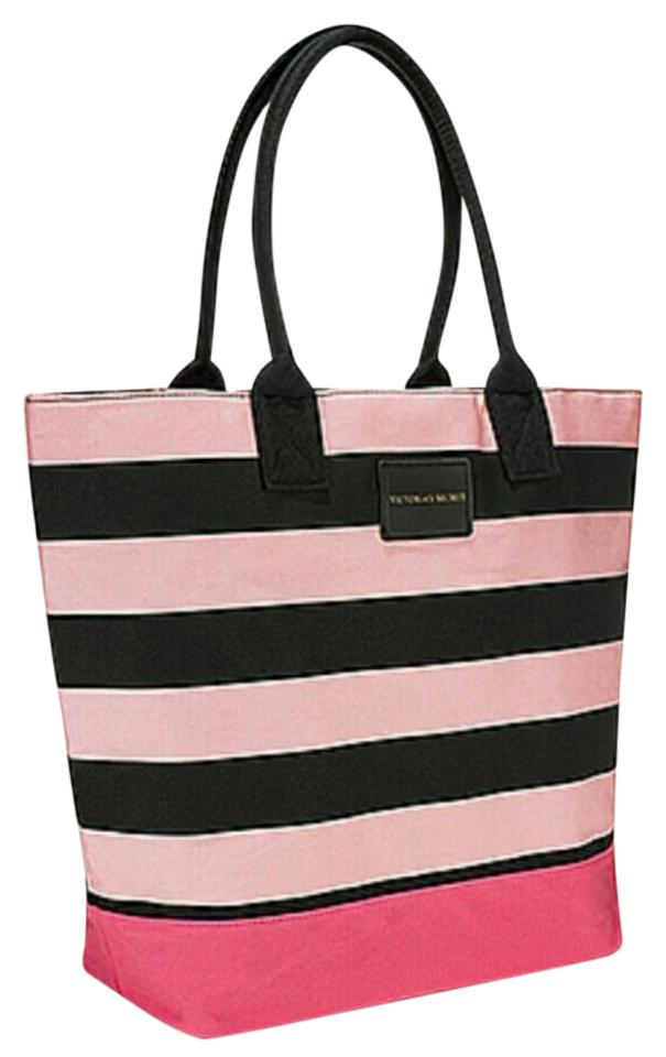 b19df8cf1 Victoria's Secret Pink Black Striped Canvas Tote - Tradesy